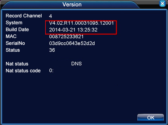 DVR/NVR System Version